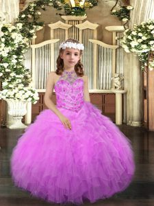 Halter Top Sleeveless Tulle Child Pageant Dress Beading and Ruffles Lace Up