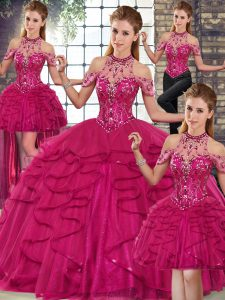 Halter Top Sleeveless Quinceanera Gowns Floor Length Beading and Ruffles Fuchsia Tulle