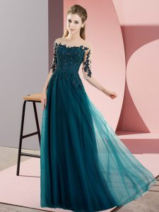 Floor Length Peacock Green Dama Dress Chiffon Half Sleeves Beading and Lace