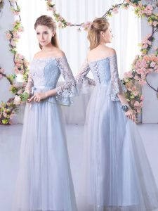 Glittering Grey Tulle Lace Up Off The Shoulder 3 4 Length Sleeve Floor Length Court Dresses for Sweet 16 Lace