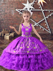 Stunning Lavender Satin and Organza Lace Up Straps Sleeveless Floor Length Pageant Gowns For Girls Embroidery and Ruffled Layers