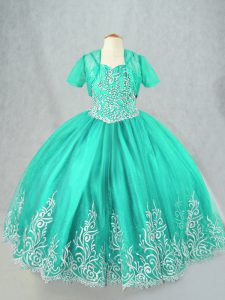 Floor Length Lace Up Girls Pageant Dresses Turquoise for Wedding Party with Beading and Embroidery