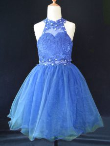 Blue Lace Up Halter Top Beading and Lace Toddler Flower Girl Dress Organza Sleeveless