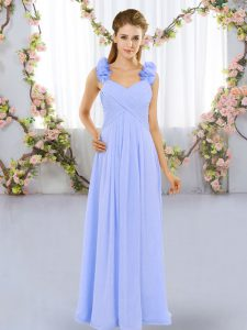 Lavender Lace Up Damas Dress Hand Made Flower Sleeveless Floor Length