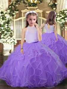 Lavender Tulle Backless Pageant Gowns For Girls Sleeveless Floor Length Ruffles