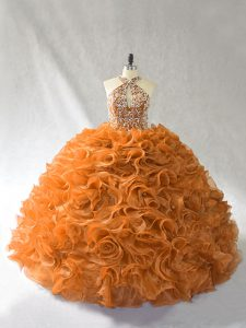 Ideal Orange and Brown Organza Lace Up Halter Top Sleeveless Vestidos de Quinceanera Brush Train Beading and Ruffles