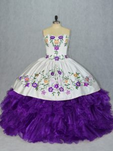Chic White And Purple Sweetheart Lace Up Embroidery and Ruffles 15 Quinceanera Dress Sleeveless
