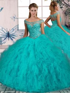 Stunning Aqua Blue Ball Gown Prom Dress Off The Shoulder Sleeveless Brush Train Lace Up