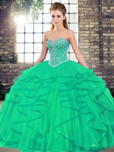 Floor Length Ball Gowns Sleeveless Turquoise 15th Birthday Dress Lace Up