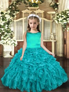 Best Aqua Blue Organza Lace Up Scoop Sleeveless Floor Length Pageant Dress for Girls Ruffles