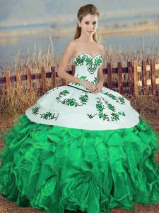 Elegant Sleeveless Organza Floor Length Lace Up Sweet 16 Quinceanera Dress in Green with Embroidery and Ruffles and Bowknot