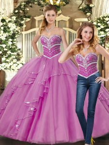 Lilac Ball Gowns Sweetheart Sleeveless Tulle Floor Length Lace Up Beading Quinceanera Gown