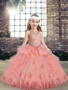 Tulle Scoop Sleeveless Lace Up Beading and Appliques Little Girl Pageant Dress in Watermelon Red