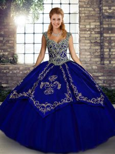 Beautiful Beading and Embroidery Sweet 16 Quinceanera Dress Blue Lace Up Sleeveless Floor Length