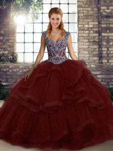 Burgundy Ball Gowns Beading and Ruffles Sweet 16 Dresses Lace Up Tulle Sleeveless Floor Length
