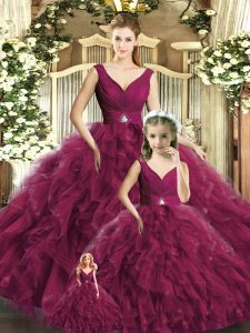 Traditional Ball Gowns 15 Quinceanera Dress Burgundy V-neck Tulle Sleeveless Floor Length Backless