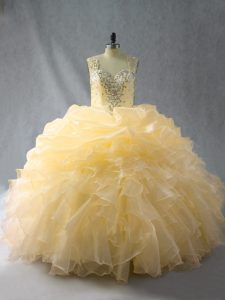 Hot Selling Floor Length Zipper Quinceanera Dress Gold for Sweet 16 and Quinceanera with Beading and Ruffles