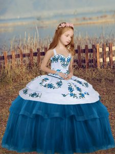 Floor Length Blue Girls Pageant Dresses Tulle Sleeveless Embroidery
