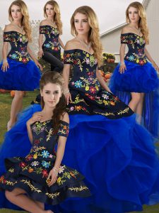 Modern Royal Blue Sleeveless Embroidery and Ruffles Floor Length Quince Ball Gowns