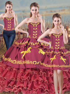 Inexpensive Burgundy Sleeveless Floor Length Embroidery and Ruffles Lace Up 15th Birthday Dress