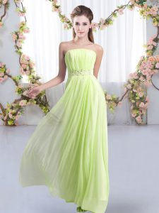 Strapless Sleeveless Chiffon Damas Dress Beading Sweep Train Lace Up