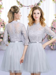 Eye-catching Mini Length Zipper Vestidos de Damas Grey for Wedding Party with Lace and Belt