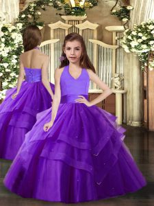 Admirable Floor Length Ball Gowns Sleeveless Purple Child Pageant Dress Lace Up