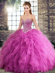 Rose Pink Lace Up Sweetheart Beading and Ruffles Vestidos de Quinceanera Tulle Sleeveless