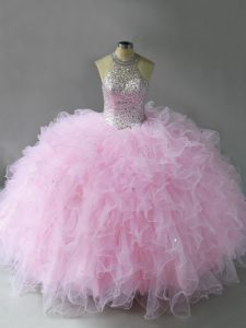 Dynamic Pink Ball Gowns Tulle Halter Top Sleeveless Beading and Ruffles Floor Length Lace Up Vestidos de Quinceanera