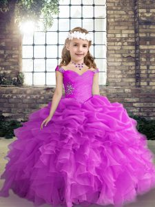 Discount Organza Straps Sleeveless Lace Up Beading and Ruffles and Pick Ups Girls Pageant Dresses in Fuchsia