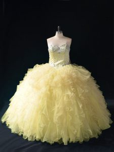 Luxury Gold Tulle Lace Up Sweetheart Sleeveless Floor Length Quinceanera Dresses Ruffles