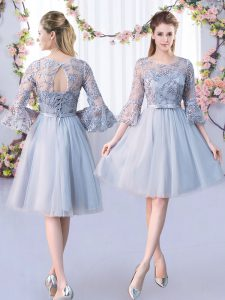 Lace and Belt Dama Dress for Quinceanera Grey Lace Up 3 4 Length Sleeve Knee Length