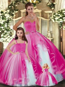 Floor Length Hot Pink 15th Birthday Dress Sweetheart Sleeveless Lace Up