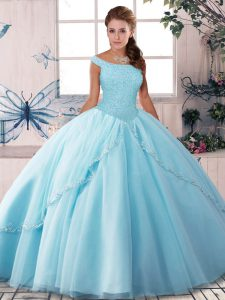 Charming Light Blue Sleeveless Brush Train Beading Quinceanera Gown
