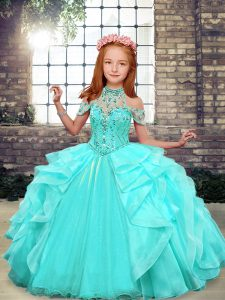 Cheap Aqua Blue Sleeveless Floor Length Beading and Ruffles Lace Up Kids Pageant Dress