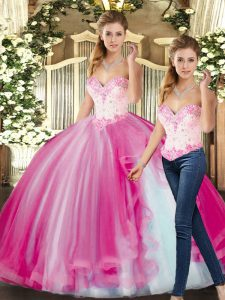 New Style Fuchsia Lace Up Quince Ball Gowns Beading Sleeveless Floor Length
