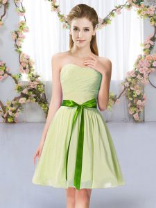 Best Selling Sweetheart Sleeveless Lace Up Damas Dress Yellow Green Chiffon