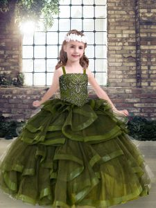 Inexpensive Floor Length Olive Green Kids Pageant Dress Tulle Sleeveless Beading and Ruffles