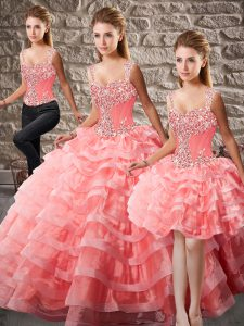 Designer Straps Sleeveless Organza Sweet 16 Dress Beading and Ruffled Layers Court Train Lace Up