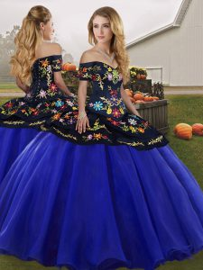 Sleeveless Lace Up Floor Length Embroidery Quinceanera Dresses