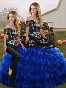 9a9158f32fc  446.56  272.30  Fabulous Blue And Black Two Pieces Off The Shoulder  Sleeveless Organza Floor Length Lace Up Embroidery