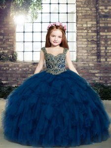 Enchanting Sleeveless Floor Length Pageant Gowns For Girls and Beading and Ruffles