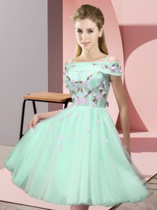 Dynamic Apple Green Short Sleeves Tulle Lace Up Court Dresses for Sweet 16 for Wedding Party