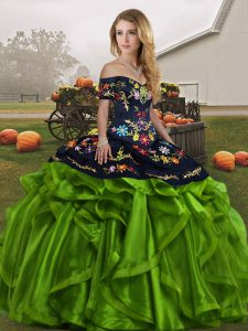 Fashionable Off The Shoulder Sleeveless Party Dress for Toddlers Floor Length Embroidery and Ruffles Green Organza