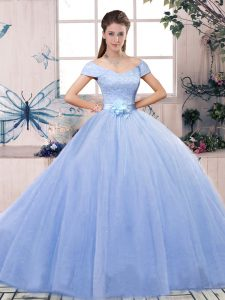 Custom Design Lavender Ball Gowns Off The Shoulder Short Sleeves Tulle Floor Length Lace Up Lace and Hand Made Flower 15 Quinceanera Dress