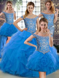 Dynamic Off The Shoulder Sleeveless Tulle Quinceanera Gown Beading and Ruffles Brush Train Lace Up