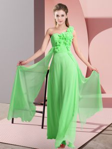 Designer Hand Made Flower Damas Dress Lace Up Sleeveless Floor Length