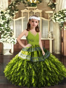 Olive Green Ball Gowns Organza V-neck Sleeveless Appliques and Ruffles Floor Length Zipper Pageant Dress for Teens