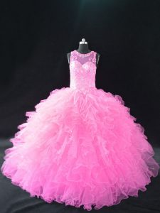 Baby Pink Scoop Lace Up Beading and Ruffles 15th Birthday Dress Sleeveless