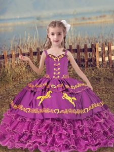Straps Sleeveless Lace Up Pageant Gowns For Girls Fuchsia Organza